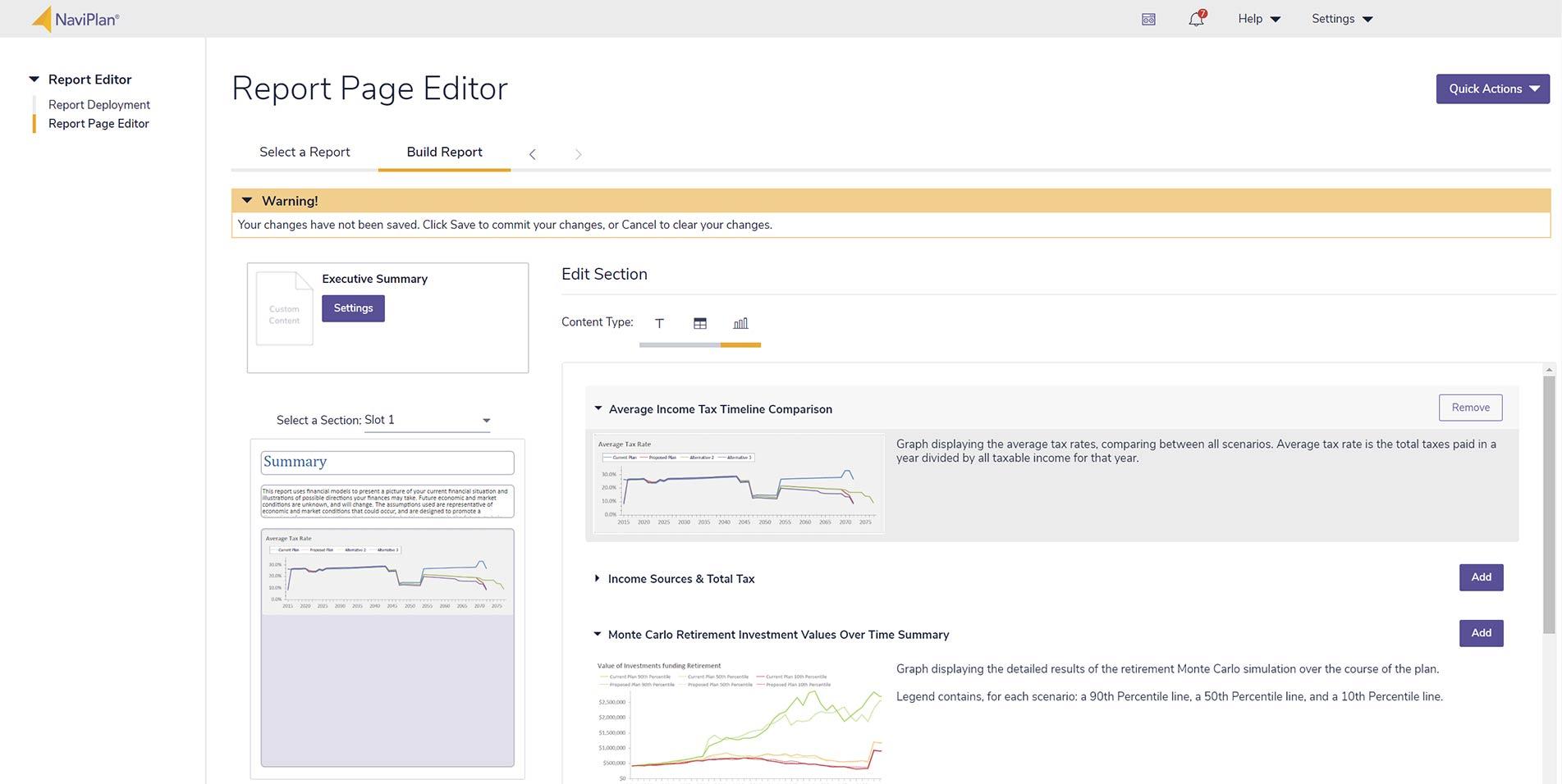 NaviPlan Client Report Editor