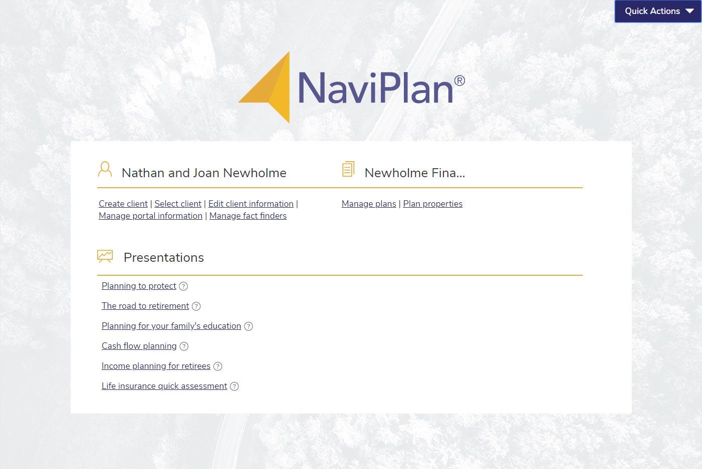 NaviPlan Presentation Module home screen