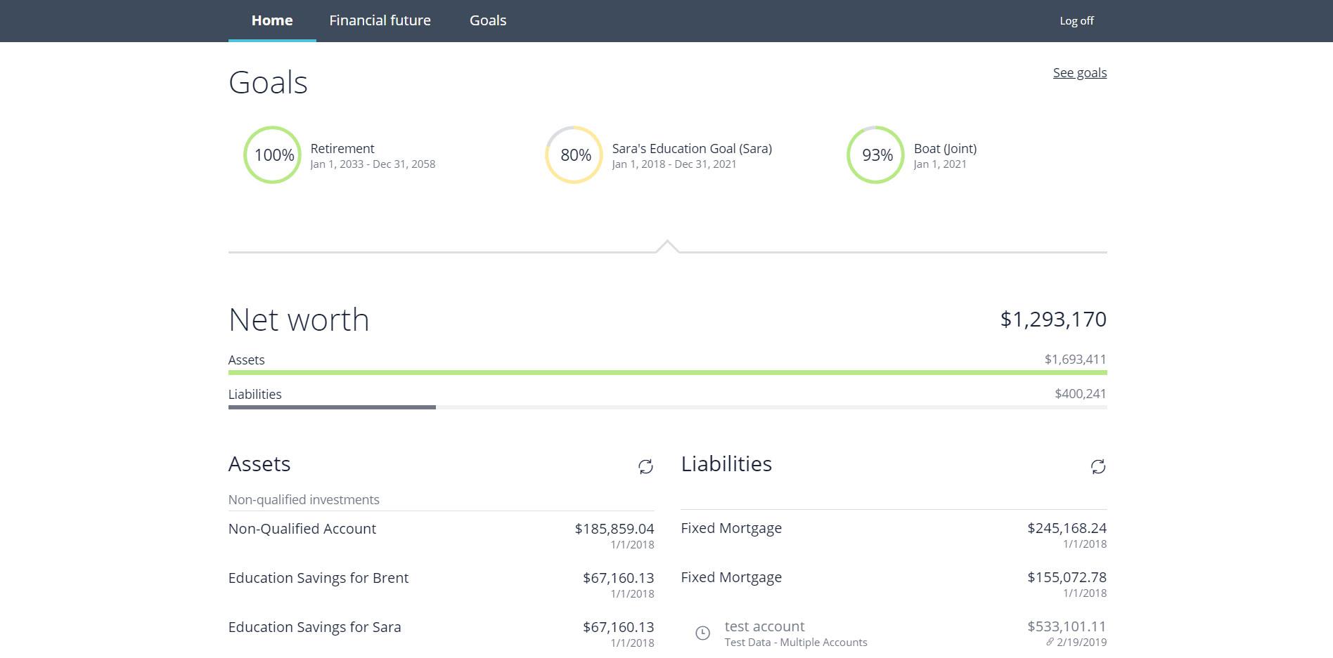 NaviPlan client portal home screen