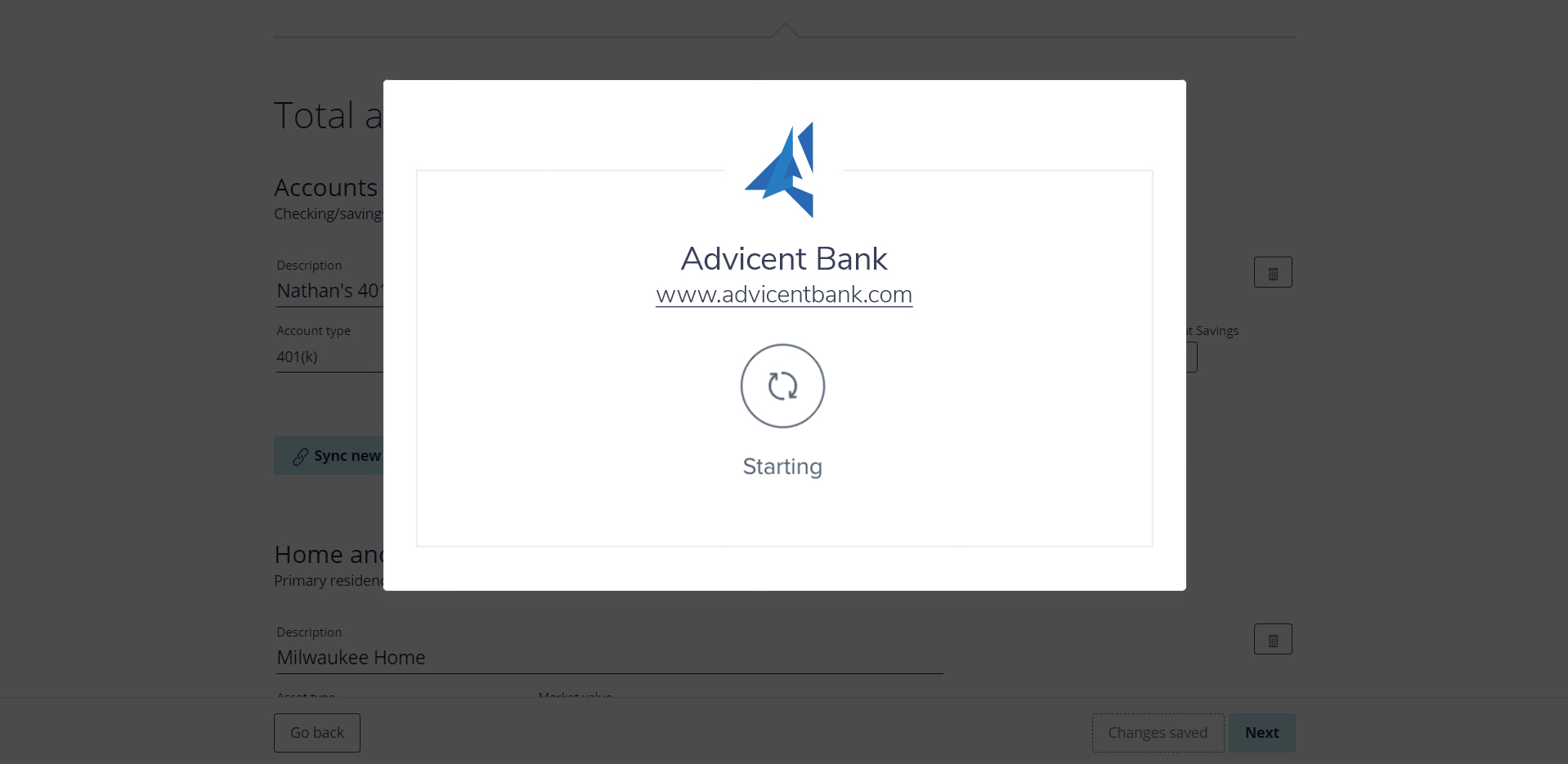 Account aggregation with MX in NaviPlan