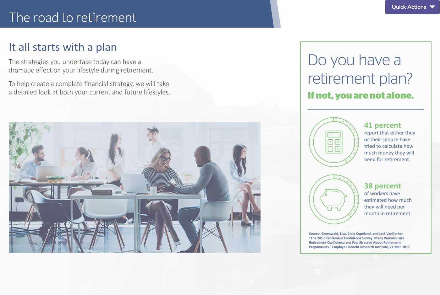 NaviPlan Presentation Module the road to retirement