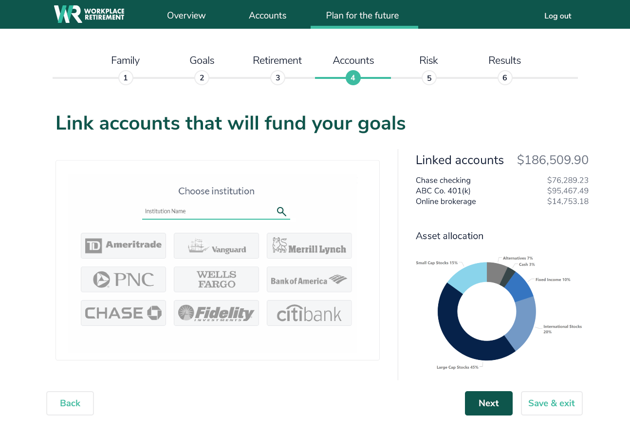 Self directed planning account linking in NaviPlan